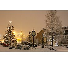 Snowy Christmas scene Historic St Charles MO Photographic Print