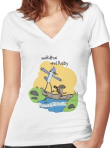 Mordecai and Rigby Women's Fitted V-Neck T-Shirt