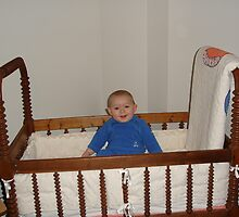Kam in his Great Great Great Grandpas craddle by candy