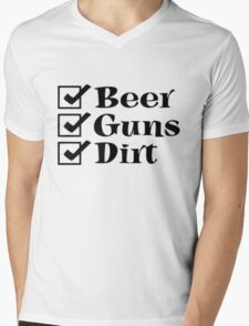 BEER GUNS DIRT Checklist Mens V-Neck T-Shirt