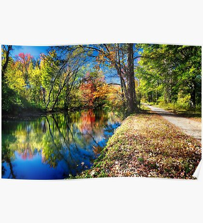 Bright Autumn Day at the D & R Canal, Princeton, New Jersey Poster