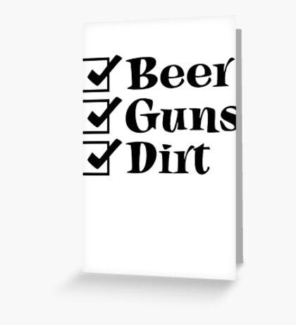 BEER GUNS DIRT Checklist Greeting Card