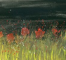 Poppies at night by Simon Rudd