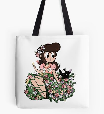 Flower Girl with Cat Tote Bag