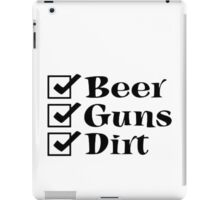 BEER GUNS DIRT Checklist iPad Case/Skin