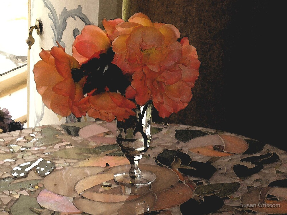 Flower on Mosiac table by Susan Grissom