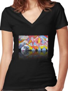 Collaboration Painting - mikoto & Shannon Crees (also a 2 minute time lapse video!) Women's Fitted V-Neck T-Shirt