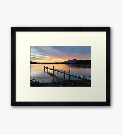 Rustic old timber jetty at sunset Framed Print