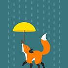 Happy as a Fox balancing an Umbrella in the Rain by Diony  Cook