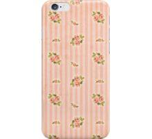 Peach Stripes Floral iPhone Case/Skin