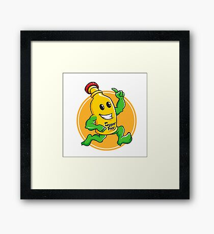 Bottle Cartoon Mascot Character brawny Framed Print