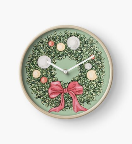 Red Ribbon Wreath (muted and cropped) Clock