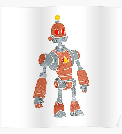 brown robot with lamp head Poster