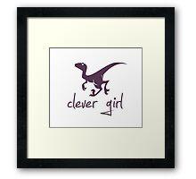 Clever Girl Dinosaur Velociraptor Framed Print