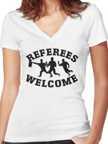 Referees welcome! (Refugees welcome parody) Women's Fitted V-Neck T-Shirt