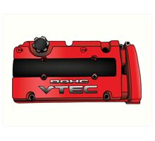 Honda H22 Valve Cover - Red Art Print
