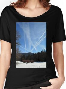 Winter scene in the forest at the mountains with cloudy sky Women's Relaxed Fit T-Shirt