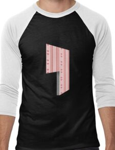 Glitch Homes Wallpaper pink heartstripes left divide Men's Baseball ¾ T-Shirt