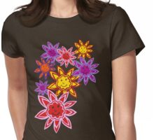 Happy Flowers Womens Fitted T-Shirt