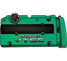 Honda H22 Valve Cover - Greenish Photographic Print