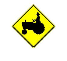 Farm Tractor Crossing sign  Photographic Print