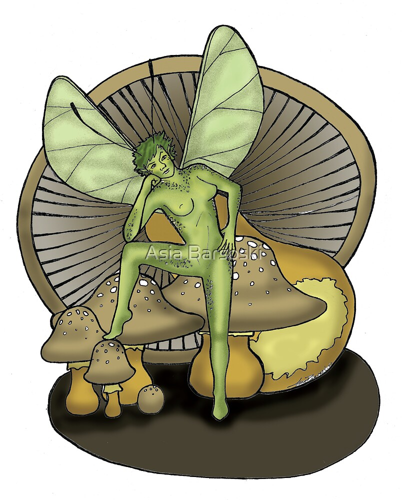 Fairy and Mushrooms (colored) by Asia Barsoski