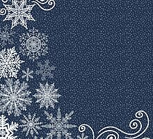 Blue and White Snowflakes by pencreations