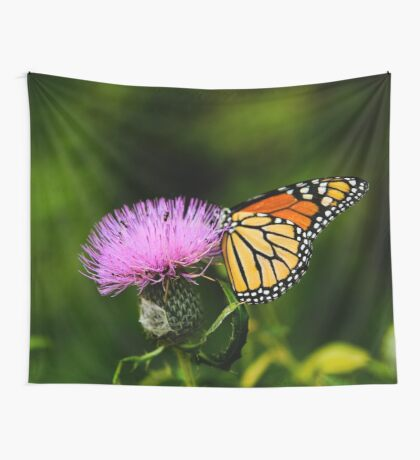 Butterfly and purple wildflower Wall Tapestry