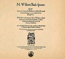 Shakespeare King Lear Quarto Front Piece by Sally McLean