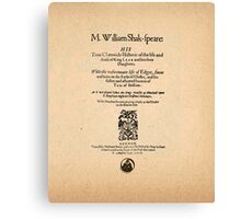 Shakespeare King Lear Quarto Front Piece Canvas Print
