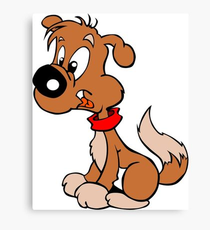 Cute Funny Brown Cartoon Dog Sitting - Dog Lover Design Canvas Print