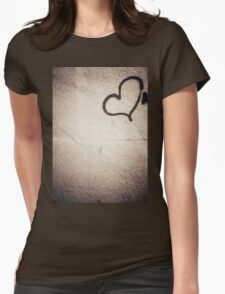 Love heart painted on urban city wall silver gelatin black and white 35mm negative analog film photograph Womens Fitted T-Shirt