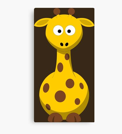Giraffe Cartoon Drawing - Cute Funny Gift Design For Animal Lover Person - Shirts and Gifts Canvas Print