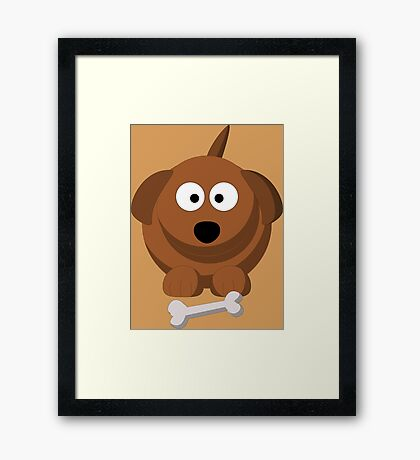 Cool Funny Brown Cartoon Dog With A Bone - Dog Lover Person Shirts And Gifts Framed Print