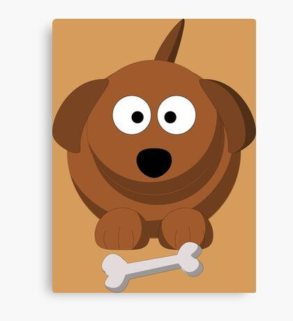 Cool Funny Brown Cartoon Dog With A Bone - Dog Lover Person Shirts And Gifts Canvas Print