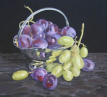 Grapes in a silver dish by Freda Surgenor