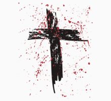 Grunge Cross with Red Splats by StudioBlack