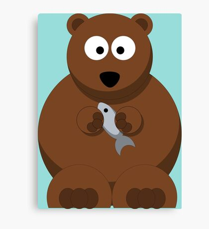 Cool Funny Cartoon Bear Holding A Fish - Cool Fishing T Shirts and Gifts Canvas Print