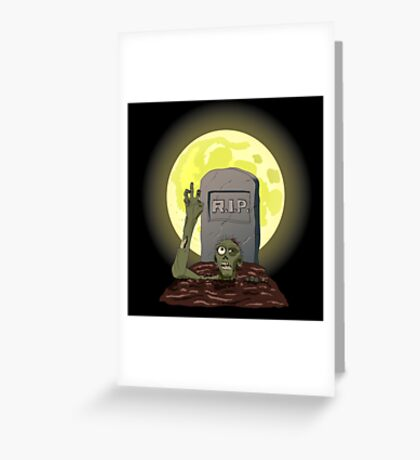 Zombie on orange moon Greeting Card