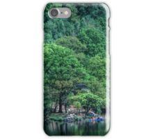 Canoist beside trees at side of Rydal Water Lake District England 19840520 0022 iPhone Case/Skin