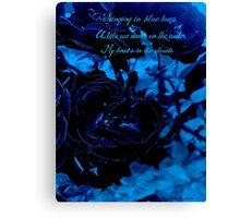 Hues of Blues Haiku Canvas Print