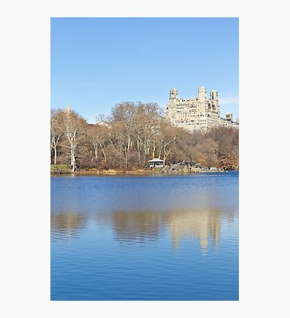 Central Park lake with building and tree reflection Photographic Print