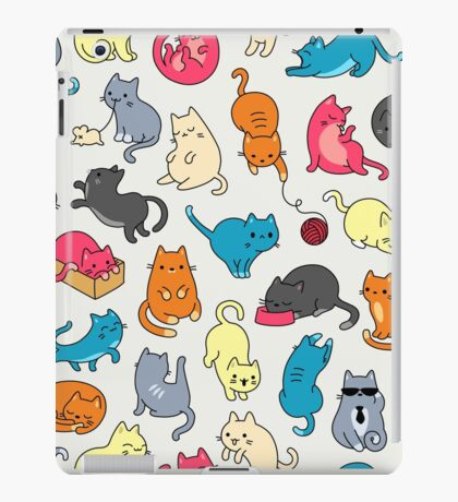 Colorful Cats and Kittens Pattern  iPad Case/Skin