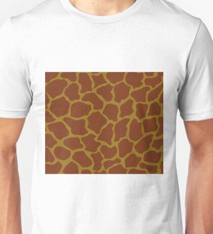 Bistre Brown, Drab, Mode Beige, Sand Dune or Sandy Taupe in Giraffe Pattern Unisex T-Shirt