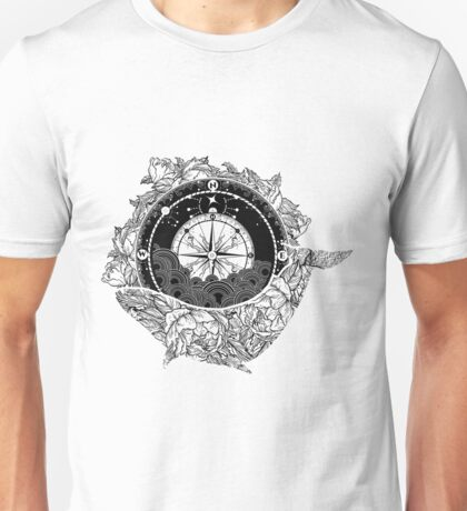 Compass and Whale Unisex T-Shirt