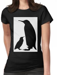 Mother & Child Penguins Silhouette Womens Fitted T-Shirt