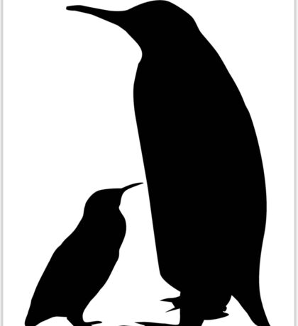 Mother & Child Penguins Silhouette Sticker