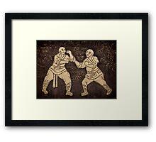Shaolin monks artwork on a wall art photo print Framed Print