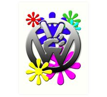 VW Peace hand sign with flowers Art Print