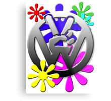VW Peace hand sign with flowers Metal Print